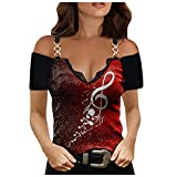 Womens Summer Tops, Womens Summer Loose T-Shirts Casual Plus Size Blouse Tops Funny Shirts Blouse Shirt Red