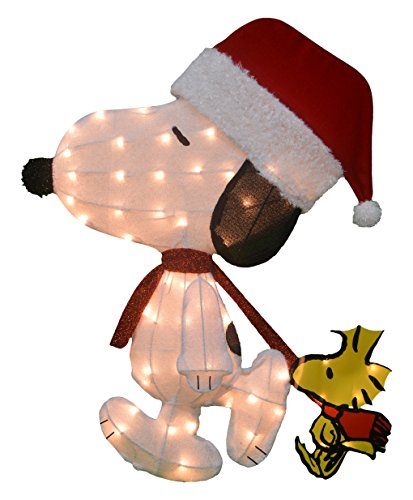 ProductWorks Product Works 20206_L2D Christmas Yard Decoration, 50 Lights 32-Inch Pre-Lit Peanuts Santa Snoopy with Woodstock Chris