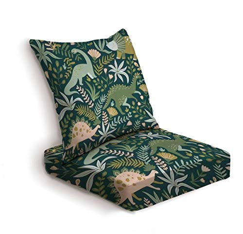 2-Piece Outdoor Deep Seat Cushion Set Hand drawn seamless pattern with dinosaurs and tropical leaves and Back Seat Lounge Chair Conversation Cushion for Patio Furniture Replacement Seating Cushion