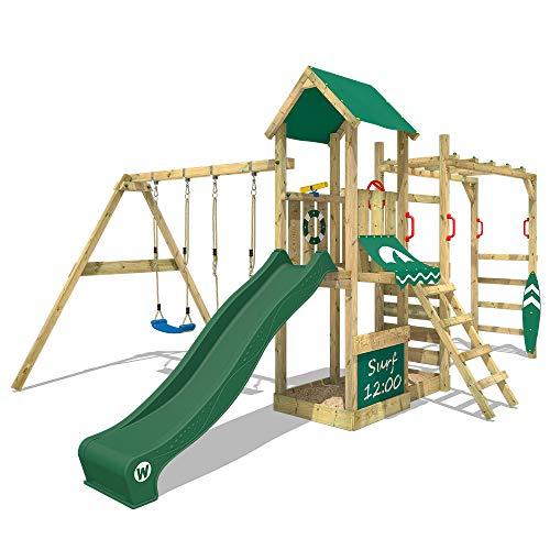 WICKEY Klimtoren voor tuin Smart Dock met schommel en groene glijbaan , Houten speeltuig, Speeltoestel, klimrek met zandbak en klimwand voor kinderen