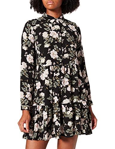 Vero Moda VMSAGA L/S Collar Peplum Dress WVN Robe, Noir/AOP : Fannie, M Femme
