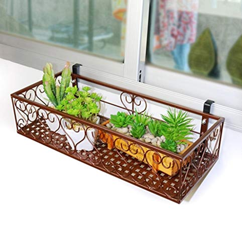 CFTGB Plantenrek, bloemenrek, balkon, hangende bloemenrek, plantenrek, ijzeren bloempothouder, voor binnen en buiten, tuin, woonkamer, balkon, raam, reling, geleidingsplank