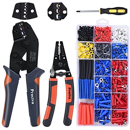 Crimpadora y Alicates pelacables para pelar, cortar y crimpadora, para cables con diámetro de 0,2-6 mm², Alicates de crimpado para terminales aislados y no aislados