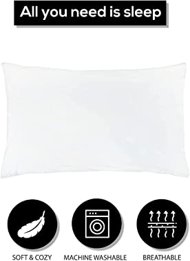 "Lenenz 2 Pack Poly Cotton Pillow Cases - 20"" x 30"" Queen/Standard Size White Pillowcases - Plain Weave Pillow Covers"