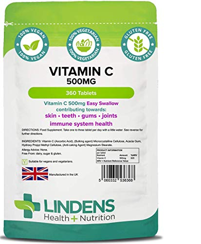 Lindens Vitamin C 500mg (Easy Swallow) Tablets - 360 Pack - 625% Nrv Dose Contributes to Normal Immune System, Skin, Teeth, Gums & Joints - UK Manufacturer, Letterbox Friendly