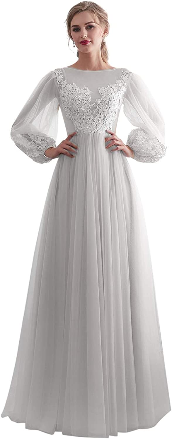 Alicebridal Women's A line Lace Applique Prom Dress Long Sleeve Tulle Evening Party Gown 2019