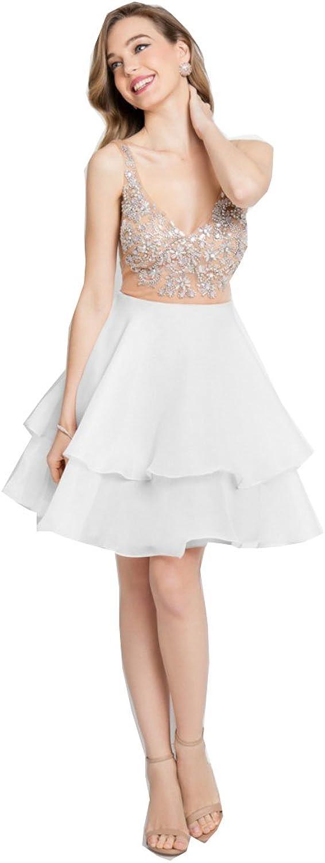 Kelaixiang VNeckline Sleeveless Women's Short Prom Party Dress Homecoming Mini Skirt