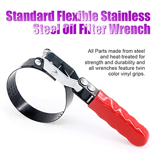 Swpeet Standard Flexible Stainless Steel Oil Filter Wrench for Superior Gripping Power Diesel Fuel Filters and Oil Filters