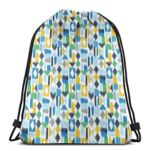 Odelia Palmer Printed Drawstring Backpacks Bags,Asian Ikat Style Traditional Patched Geometric Color Effects Illustration,Adjustable String Closure