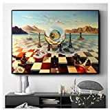 City Chess Beach Set Wall Art Canvas Painting Poster Prints Pictures For Living Room Decoration Home Paintings Decor -60x90cm Sin marco