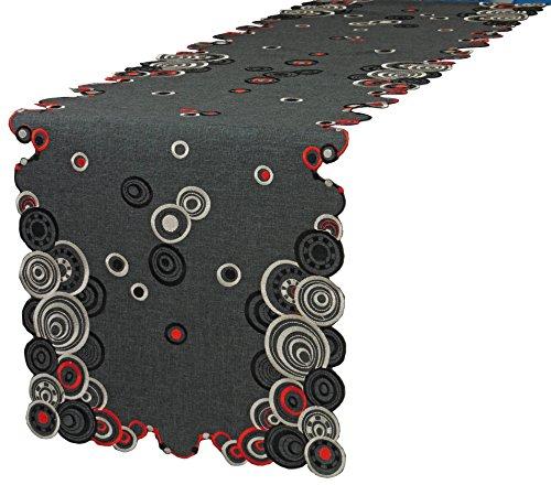 Laura S Tischläufer Mitteldecke Kissenbezug erhältlich. Rot Schwarz Ecru Gestickt auf Anthrazit Leinenoptik. Pflegeleichter Stoff 100% Polyester. Ausgewählte Größe jetzt : (ca. 40 cm x 90 cm)