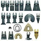 22 x TopsTools DRFAK22CD Fast Fit Mix Blade Kit Plus Adapter Compatible with Dremel Multimax Multi-Max MM20 MM30 MM40 and MM45 Multitool Multi Tool Accessories