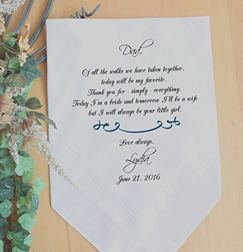 Father of the Bride handkerchief, PRINTED, Wedding handkerchiefs. Gift and Momentos. A father holds his daughter, your little GIRL, Dad Gift,Personalized. GMS2FCHA by Snugahug