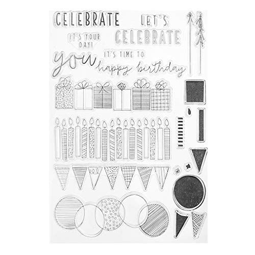WuLi77 Silikonstempel Set, Feiern Clear Stamps - DIY Stempel Für DIY Album Scrapbooking Photo Card Machen Dekor