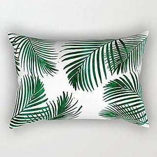 Funda de cojín rectangular de 40 x 60cm, con diseño de hojas de palmeras tropicales