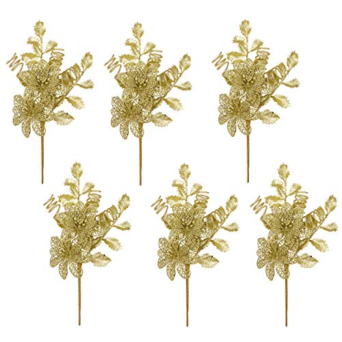 Valery Madelyn 6 Pieces Gold Glitter Christmas Picks with Artificial Pine Cone and Leaves for Christmas Tree Flower Arrangements Wreaths and Holiday Decorations