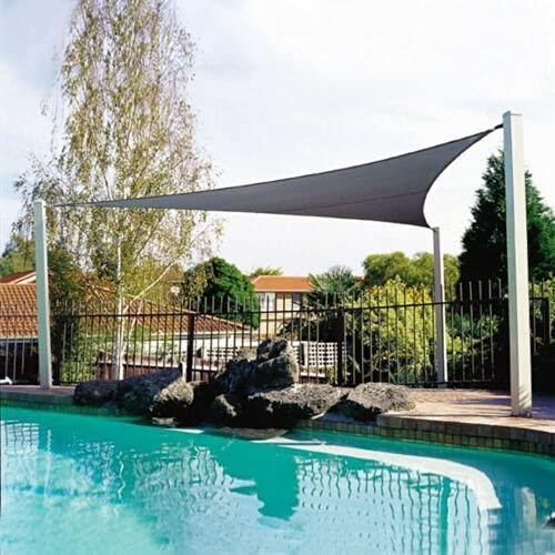 YNLRY Triángulo 2 x 2 m impermeable Sun Shelter protección parasol para exteriores, toldo de jardín, patio, piscina, toldo de vela para tienda de campaña (color: gris (300 x 300 x 300 cm)