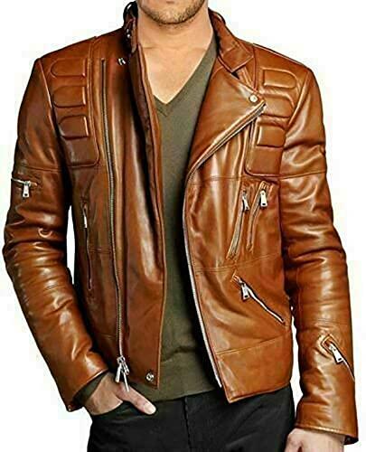 EU Fashions Braune Lederjacke für...