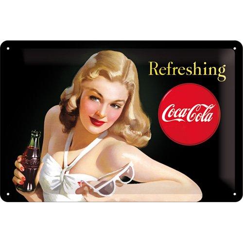 Nostalgic-Art 22227 Plaque rétro en tôle Motif Coca-Cola avec Inscription Refreshing 20 x 30 cm