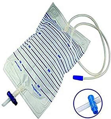 Cura Farma : Sacche per urina da letto 2 litri e tubo 120 Cm con rubinetto di scarico a croce (T) e Valvola anti-reflusso (Confezione da 30 PZ)