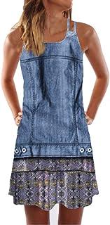 comprar comparacion VEMOW Faldas Mujer Mini Vestido Corto con Estampado de Playa sin Mangas de Verano para Mujer