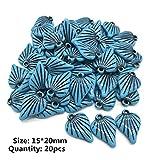 Hojas redondas azules Gotas de agua Cuentas de acrílico vintage en forma de corazón para la fabricación de joyas DIY Pulsera Collar Accesorios, 07