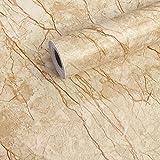 CARYWON Adhesivo Papel Marmol para Muebles PVC Marmol Impermeable y Aceite Impermeable Papel Pared para la Cocina Encimera Oficina de Baño Mármol Gris Claro, 60 X 200cm (Mármol Marron)