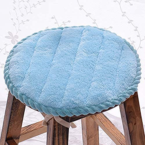 WENYAO Chair cushion round and round Monochrome cushions, plush pillows Breathable Home Office Student stool dining chair seat cushion 2PCS,blue,(diameter) 50cm