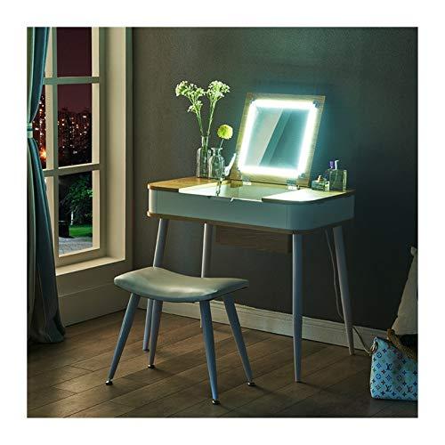 RKRXDH Vanity Dormitorio Dormitorio Conjunto De Tocador Multifuncional Plegable para Dormitorio Dormitorio Maquillaje Tocador (Color : with Touch Light, Size : 80cm*50 * 73CM)