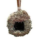 Nido de pájaro hecho a mano hecho a mano jaula de pájaro loro colgante anidación jardinería casa de pájaros pajita tejida lugar de descanso animales jaula hogar colgante decoración