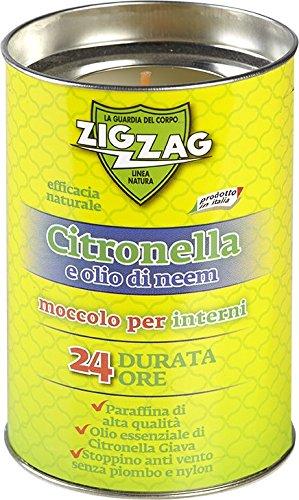 Zig Zag, Candela agli Oli Essenziali di Citronella Giava e Neem, Moccolo per Interni, made in Italy, stoppino a base di fibra naturale, durata 24 Ore