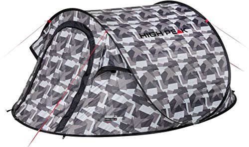 High Peak Wurfzelt Vision 3, Pop Up Zelt für 3 Personen, Festivalzelt freistehend, super leichtes Schnellöffnungs-Wurfzelt, 2000 mm wasserdicht, UV 60 Sonnenschutz, Ventilationssystem, Moskitoschutz
