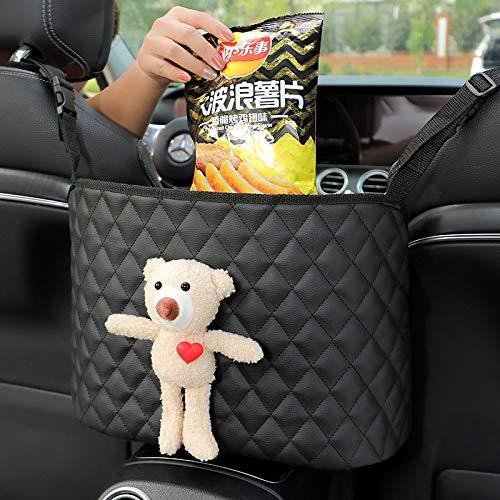Handbag Holding Net Hanging Storage Bag Between Car SeatsLeather Seat Back Organizer Mesh Large Capacity BagHandbag Holder Between The Two Seats of The Car