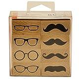 Artemio Bigotes y Gafas Set de 8Sello, Madera, Negro, 9x 3x 11cm