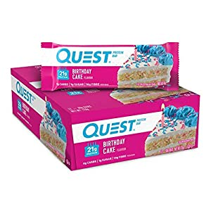 EVERY DAY CAN BE YOUR SPECIAL DAY: The Quest Birthday Cake Protein Bar tastes like a slice of birthday cake you can enjoy every day. Celebrate with 21g protein 4g net carbs and less than 1g of sugar per bar. CELEBRATE COMPLETE PROTEINS: Quest Birthda...