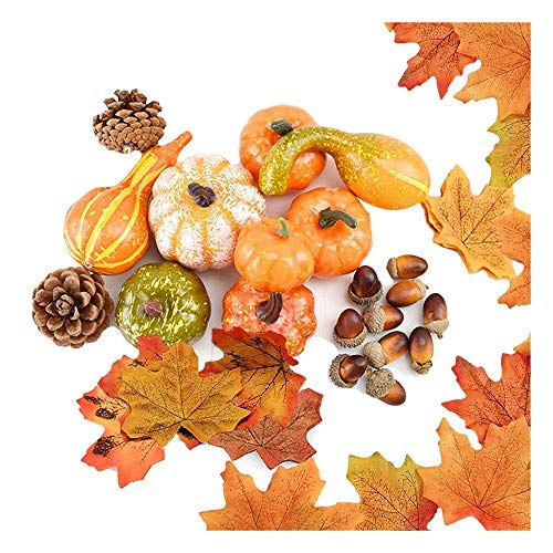 JVSISM 70 Pcs Fall Decor,Artificial Maple Leaves,Pumpkin,Acorns,Pine Cones,Gourds,for Thanksgiving Halloween Christmas Decor