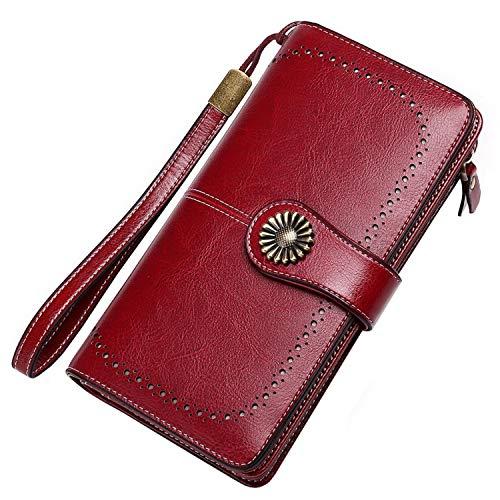 Portafoglio Donna Grande, Portamonete con Cerniera, Portafoglio con Protezione RFID, Porta Carte di Credito Tasche Pelle (Rosso)