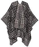 Sakkas 1928 - Lupe Womens Reversible Poncho Wrap Cape Shawl Sweater Coat Cardigan Pattern - Houndstooth Black - OS