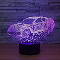 Dtcrzj Ai3DランプスーパーFtデザイン車7色Ledナイトランプ用キッズタッチLed Usbテーブルベビースリーピングナイトライトホログラム家の装飾