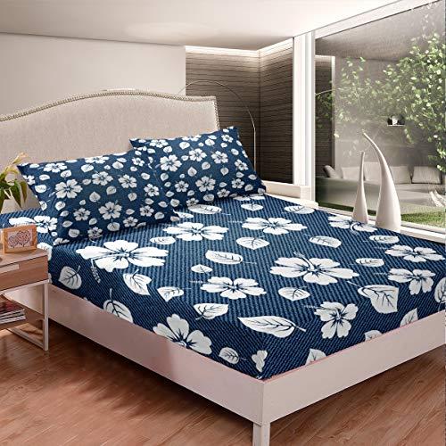 Loussiesd - Set di biancheria da letto con motivo floreale, motivo floreale, set di lenzuola da donna, stile retrò, blu navy, stile vintage, 3 pezzi, super king size