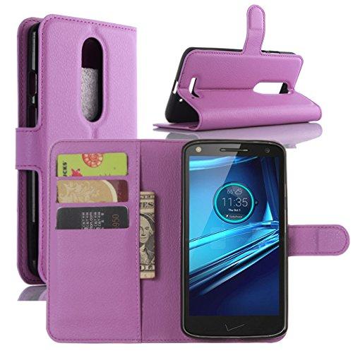 HualuBro Moto X Force Hülle, [All Aro& Schutz] Premium PU Leder Leather Wallet HandyHülle Tasche Schutzhülle Flip Hülle Cover für Motorola Moto X Force Smartphone (Violett)