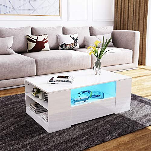 Senvoziii Couchtisch Hochglanz Sofatisch Kaffeetisch 2 Schubladen mit Regalen Offenes Gehäuse für Wohnzimmer Büromöbel - Weiß mit Beleuchtung