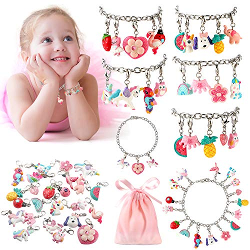 Lorfancy 24 Pcs Girls Charm Bracelets Necklace Making Kit Kids DIY Unicorn Craft Chain Jewelry Making Supplies