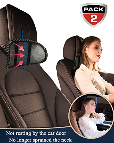weikin Car Neck Pillow Car Headrest Pillow Mesh Head and Neck Rest Pad Breathable and Easy to Remove Support Neck Safety Pillow, Protect Neck & Vertebra for Office, Car Seat, etc. (2 Pack)