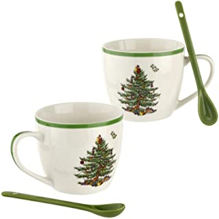 Spode Christmas Tree 4Pc Mug & Ceramic Spoon Set 16Oz