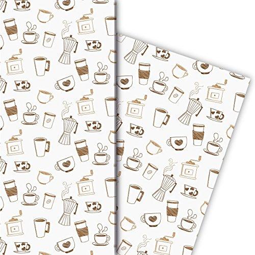 Kartenkaufrausch Kaffee Pausen Geschenkpapier Set 4 Bogen, Dekorpapier mit Tassen und Kaffeemühlen, weiß, für schöne Geschenkverpackung, Musterpapier zum basteln 32 x 48cm