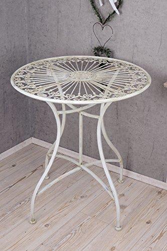 PALAZZO INT Gartentisch Shabby Chic Eisentisch runder Tisch Antik