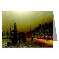 12ヴィンテージNotecardセットof John Atkinson Grimshaw VictorianペイントのロンドンストリートシーンTitledグリーノックHarbour at Night、1893