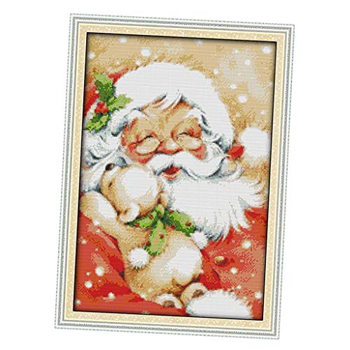 P Prettyia Dimensions Needlecrafts Stamped Cross Stitch Kit Pre-Printed Pattern Embroidery Kit Xmas Santa Claus - Multicolor, 34 x 48 cm