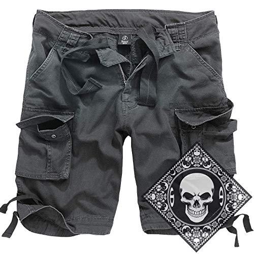 urbandreamz Urban Leyenda Vintage Shorts Pantalones Cortos Bermudas Cortos Cargo con UD Pañuelo S-7XL - Antracita, M